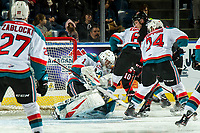 KELOWNA, CANADA - JANUARY 4:  James Porter #1 of the Kelowna Rockets makes a second period save against the Prince George Cougars on January 4, 2019 at Prospera Place in Kelowna, British Columbia, Canada.  (Photo by Marissa Baecker/Shoot the Breeze)