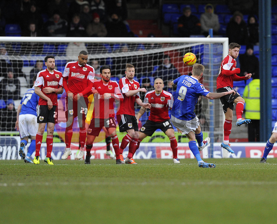 Oldham Athletic's Jonathan Stead fires his free kick over  - Photo mandatory by-line: Joe Meredith/JMP - Tel: Mobile: 07966 386802 08/02/2014 - SPORT - FOOTBALL - Oldham - Boundary Park - Oldham Athletic v Bristol City - Sky Bet League One
