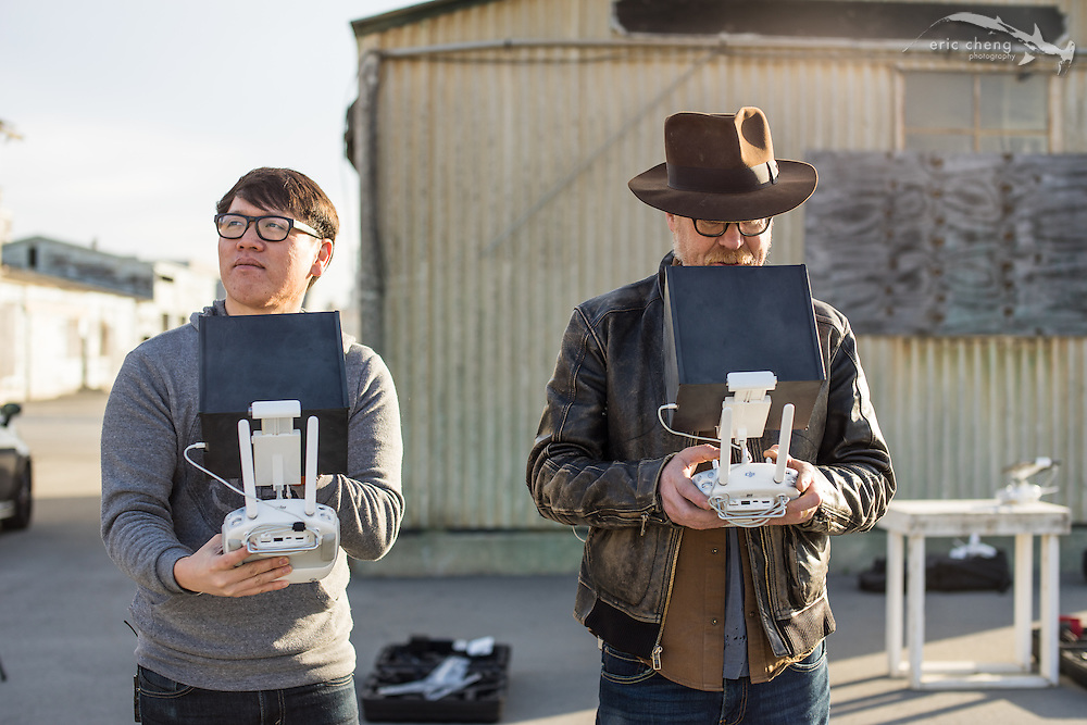 Adam Savage and Norm Chan operate a DJI Inspire 1 in dual-operator mode. Norm doesn't need no stinkin' FPV.