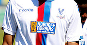 Nordoff Robbins sits proudly on the season's new shirts as it's new official shirt sponsor. Pre-Season Friendly match between Lewes FC and Crystal Palace at the Dripping Pan, Lewes, United Kingdom on 1 August 2015. Photo by Michael Hulf.