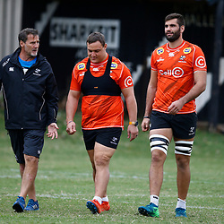 Robert du Preez (Head Coach) of the Cell C Sharks with Coenie Oosthuizen and Ruben van Heerden of the Cell C Sharks  during The Cell C Sharks training session at Jonsson Kings Park Stadium in Durban, South Africa. 21 May 2019 (Mandatory Byline Steve Haag)