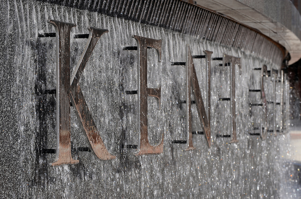 The New Kent State waterfall is one of the main features of the newly renovated Risman Plaza. The Risman Plaza is a main hub of activity on the Kent State Campus.