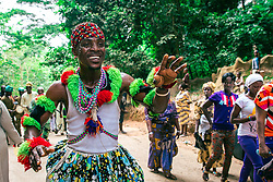 LAGOS, Aug. 26, 2013  A performer dances during the Osun Osogbo festival, or the river goddess festival, in Osogbo, capital of southwest Nigeria's Osun State, on Aug. 23, 2013. Every August in Osogbo, the festival presents an opportunity for the indigenes of Osogbo, their friends and well-wishers as well as fun-loving tourists to converge in town for the yearly celebration. The festival has gained a global recognition to such an extent that the Osun Grove was enlisted as a world heritage site in 2005.   (Xinhua/Zhang Weiyi) (Credit Image: © Xinhua via ZUMA Wire)