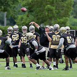 05 June 2009: Saints defensive coordinator Gregg Williams works with the defense during the New Orleans Saints Minicamp held at the team's practice facility in Metairie, Louisiana.