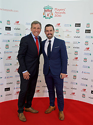 LIVERPOOL, ENGLAND - Thursday, May 12, 2016: Former player Alan Kennedy and David Thompson arrive on the red carpet for the Liverpool FC Players' Awards Dinner 2016 at the Liverpool Arena. (Pic by David Rawcliffe/Propaganda)