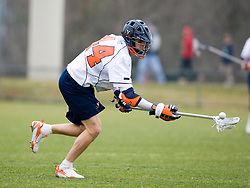 Virginia defenseman Mike Timms (44).  The #3 ranked Virginia Cavaliers men's lacrosse team defeated the Stony Brook Seawolves 15-13 at the University of Virginia's Klockner Stadium in Charlottesville, VA on February 23, 2008.