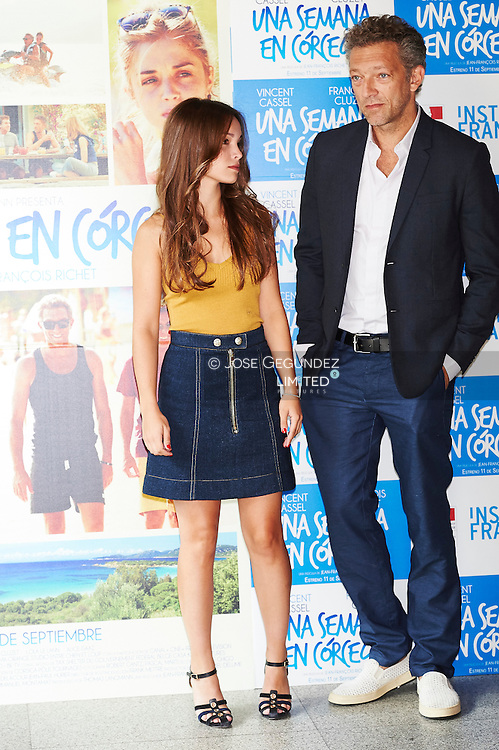 Vincent Cassel and Lola Le Lann attends 'Un moment d'egarement' photocall at French Institute on September 5, 2015 in Madrid
