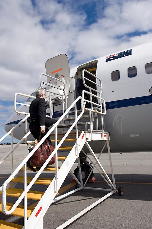 Australian Prime Minister Kevin Rudd leaves Perth for Melbourne