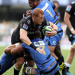 Matt Hodgson (captain) of Western Force tackling Philip van der Walt (captain) of the Cell C Sharks during the Super Rugby match between the Cell C Sharks and the Western Force at Growthpoint Kings Park on May 06, 2017 in Durban, South Africa. (Photo by Steve Haag)