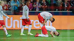 12.04.2018, Red Bull Arena, Salzburg, AUT, UEFA EL, FC Salzburg vs SS Lazio Roma, Viertelfinale, Rueckspiel, im Bild v. l. Xaver Schlager (FC Salzburg), Reinhold Yabo (FC Salzburg), Duje Caleta-Car (FC Salzburg), Valon Berisha (FC Salzburg) // during the UEFA Europa League Quaterfinal, 2nd Leg Match between FC Salzburg and SS Lazio Roma at the Red Bull Arena in Salzburg, Austria on 2018/04/12. EXPA Pictures © 2018, PhotoCredit: EXPA/ Martin Huber