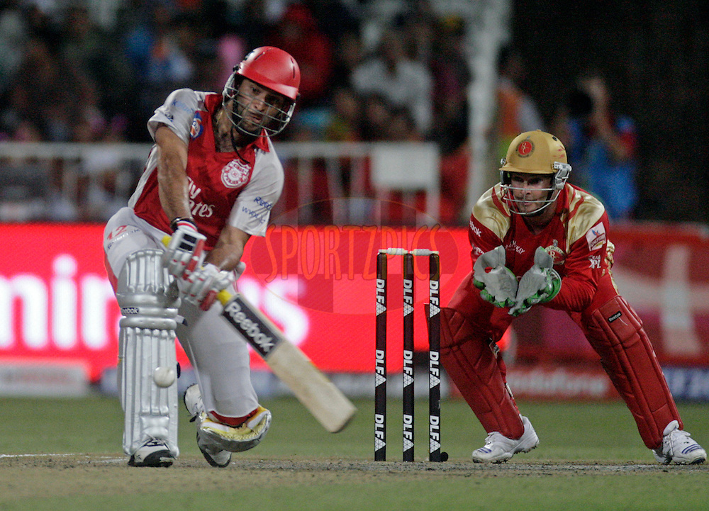 DURBAN, SOUTH AFRICA - 1 May 2009. Yuvraj Singh plays a shot with Mark Boucher keeping during the IPL Season 2 match between Kings X1 Punjab and the Royal Challengers Bangalore held at Sahara Stadium Kingsmead, Durban, South Africa...