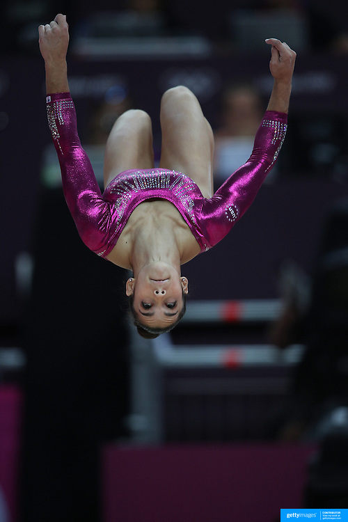 Alexandra Raisman, USA, in action on the Balance Beam during the Women's Individual All-Around competition at North Greenwich Arena, during the London 2012 Olympic games. London, UK. 2nd August 2012. Photo Tim Clayton