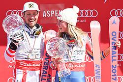 19.03.2017, Aspen, USA, FIS Weltcup Ski Alpin, Finale 2017, Siegerehrung, im Bild Marcel Hirscher (AUT, Gewinner des Riesenslalom, slalom und des Gesamt Weltcups) Mikaela Shiffrin (USA) mit ihren Kristrallkugeln für den Gesamtweltcup // Winner of the Slalom Giant Slalom and Overall World Cup Marcel Hirscher of Austria Mikaela Shiffrin (USA) with their crystal globes for the overall World Cup during the winner award ceremony for the overall winner of 2017 FIS ski alpine world cup finals. Aspen, United Staates on 2017/03/19. EXPA Pictures © 2017, PhotoCredit: EXPA/ Erich Spiess