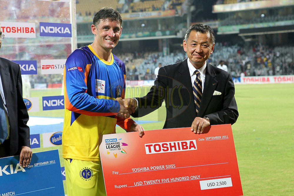 Michael Hussey gets the Maximum sixes award during match 3 of the NOKIA Champions League T20 ( CLT20 )between the Chennai Superkings and the Mumbai Indians held at the M. A. Chidambaram Stadium in Chennai , Tamil Nadu, India on the 24th September 2011..Photo by Ron Gaunt/BCCI/SPORTZPICS