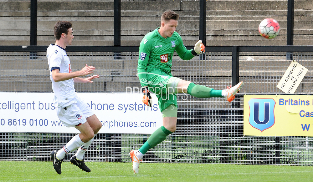 Wayne hennessey with the clerance during the U21 Professional Development League match between U21 Crystal Palace and U21 Bolton Wanderers at Selhurst Park, London, England on 17 August 2015. Photo by Michael Hulf.