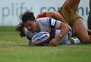 Justin Horo of Wakefield Trinity scores the try against Catalans Dragons during the Betfred Super League match at the Mobile Rocket Stadium, Wakefield<br /> Picture by Stephen Gaunt/Focus Images Ltd +447904 833202<br /> 07/07/2018