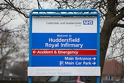 © Licensed to London News Pictures. 27/02/2016. Huddersfield, UK. Huddersfield Royal Infirmary in West Yorkshire at which thee NHS announced plans to close the Accident and Emergency unit.  Thousands of protesters marched through Huddersfield in West Yorkshire today as they fight to save the town's accident and emergency unit. The march was in reaction to the news that the NHS wants to scrap the A&E unit at Huddersfield Royal Infirmary in order to cut costs.  This protest comes in the same week that junior doctors announced six new days of strikes and a legal challenge against Jeremy Hunt's vow to impose their 7-day contracts. Photo credit : Ian Hinchliffe/LNP
