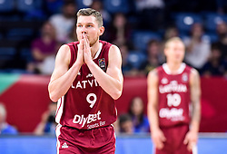 Dairis Bertans of Latvia reacts during basketball match between National Teams of Slovenia and Latvia at Day 13 in Round of 16 of the FIBA EuroBasket 2017 at Sinan Erdem Dome in Istanbul, Turkey on September 12, 2017. Photo by Vid Ponikvar / Sportida