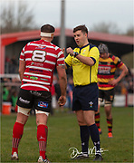 Referee Ben Whitehouse in action during today's game explaining to Llandovery Captain Richard Brooks why the penalty was given.<br /> <br /> Photographer: Dan Minto<br /> <br /> Indigo Welsh Premiership Rugby - Round 12 - Llandovery RFC v Carmarthen Quins RFC - Saturday 28th December 2019 - Church Bank, Llandovery, South Wales, UK.<br /> <br /> World Copyright © Dan Minto Photography<br /> <br /> mail@danmintophotography.com <br /> www.danmintophotography.com