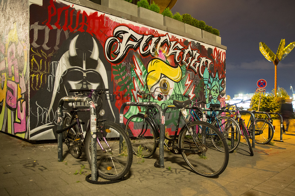 Hamburg, Germany - 05.07.2017<br /> <br /> No G20 mural near Hamburg Landungsbruecken.<br /> <br /> Anti-G20 Wandbild nahe den Landungsbruecken in Hamburg.<br /> <br /> Photo: Bjoern Kietzmann