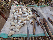 Seashells, tools and utensils on display at the Datoga tribe. Lake Eyasi, Tanzania