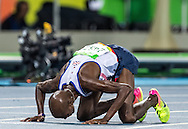 Mo Farah of Great Britain takes Gold to retain his title in the Men's 10,000m on day eight of the XXXI 2016 Olympic Summer Games in Rio de Janeiro, Brazil.<br /> Picture by EXPA Pictures/Focus Images Ltd 07814482222<br /> 13/08/2016<br /> *** UK & IRELAND ONLY ***<br /> <br /> EXPA-GRO-160814-5314.jpg