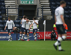 Sean Maguire of Preston North End (C) celebrates after scoring his sides first goal - Mandatory by-line: Jack Phillips/JMP - 28/10/2017 - FOOTBALL - Deepdale - Preston, England - Preston North End v Brentford - Football League Championship