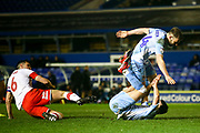 Liam Walsh of Coventry City(20) takes a tumble after a challenge from Richard Wood of Rotherham United (6) during the EFL Sky Bet League 1 match between Coventry City and Rotherham United at the Trillion Trophy Stadium, Birmingham, England on 25 February 2020.