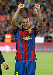 17.08.2011, Camp Nou, Barcelona, ESP, Supercup 2011, FC Barcelona vs Real Madrid, im Bild FC Barcelona's Daniel Alves celebrate the victory during Spanish Supercup 2nd match.August 17,2011. EXPA Pictures © 2011, PhotoCredit: EXPA/ Alterphotos/ Acero +++++ ATTENTION - OUT OF SPAIN / ESP +++++