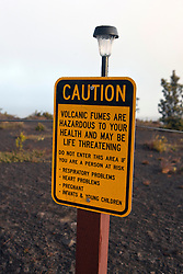 Warning sign about the danger of volcanic fumes, Hawaii Volcanoes National Park,The Big Island, Hawaii, United States of America