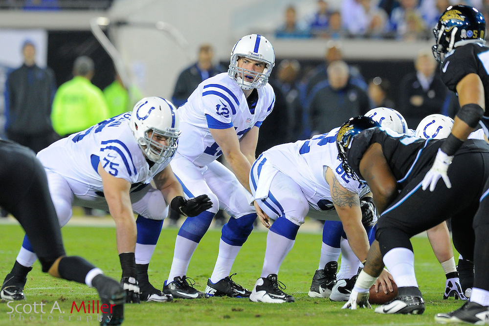 Indianapolis Colts quarterback Andrew Luck (12) at the line of scrimmage during NFL football game between the Jacksonville Jaguars and the Colts at EverBank Field on November 8, 2012 in Jacksonville, Florida.  The Colts won 27-10. .©2012 Scott A. Miller..