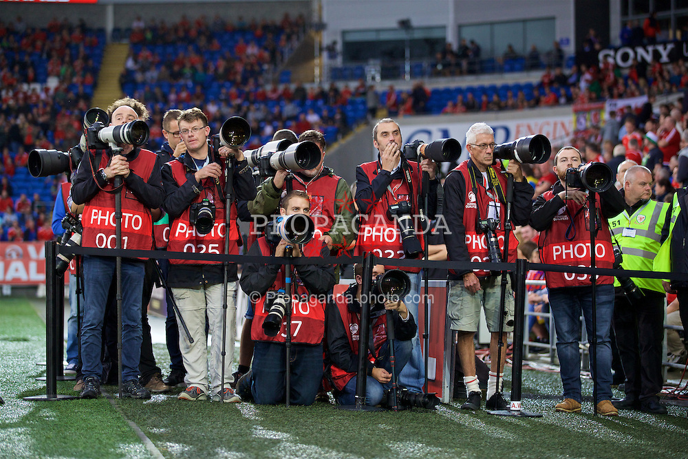 CARDIFF, WALES - Monday, September 5, 2016: Photographers before the 2018 FIFA World Cup Qualifying Group D match between Wales and Moldova at the Cardiff City Stadium. (Pic by David Rawcliffe/Propaganda)