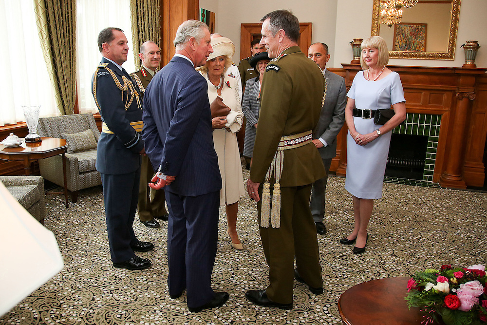 Prince Charles, Prince of Wales speaks to Chief of Defence Force is Lieutenant General Tim Keating during a welcome ceremony at Government House, Wellington, New Zealand, Wednesday, November 04, 2015. Credit:SNPA / Getty, Hagen Hopkins **POOL**