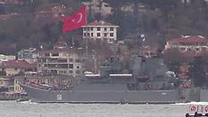 MAR 04 2014 Russian warships passing through the Turkish strait of Bosporus