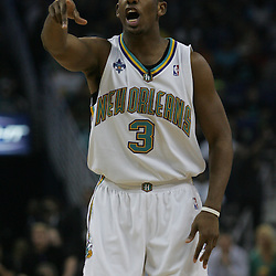 Chris Paul #3 of the New Orleans Hornets reacts to an official's call against the Golden State Warriors in the first quarter of their NBA game on April 6, 2008 at the New Orleans Arena in New Orleans, Louisiana.