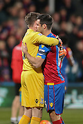 Crystal Palace goalkeeper Wayne Hennessey & Crystal Palace defender Scott Dann  during the Barclays Premier League match between Crystal Palace and Sunderland at Selhurst Park, London, England on 23 November 2015. Photo by Simon Davies.