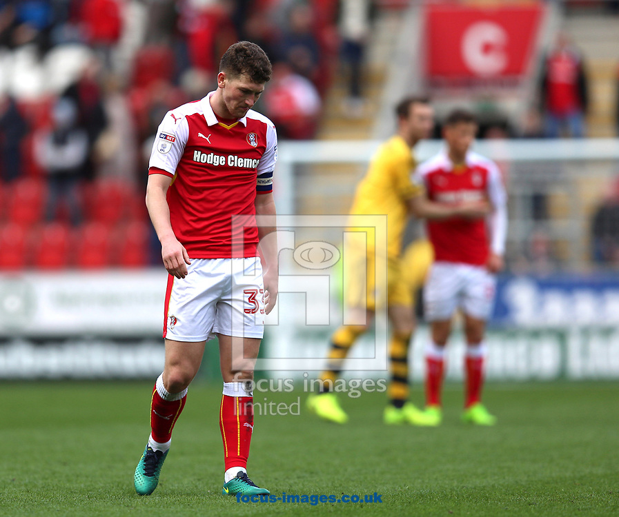 Richie Smallwood of Rotherham United looks dejected after Rotherham United became the first team to be relegated this season after defeat in the Sky Bet Championship match at the New York Stadium, Rotherham<br /> Picture by James Wilson/Focus Images Ltd 07709 548263<br /> 01/04/2017
