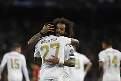 November 6, 2019, Madrid, Spain: Real Madrid CF's Rodrygo Goes and Marcelo Vieira celebrates after scoring a goal during the UEFA Champions League match between  Real Madrid and Galatasaray SK at the Santiago Bernabeu in Madrid. (Credit Image: © Manu Reino/SOPA Images via ZUMA Wire)