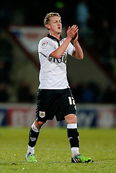 New loan signing George Saville of Bristol City applauds the away fans after his side win 0-2 - Photo mandatory by-line: Rogan Thomson/JMP - 07966 386802 - 17/01/2015 - SPORT - FOOTBALL - Scunthorpe, England - Glanford Park - Scunthorpe United v Bristol City - Sky Bet League 1.