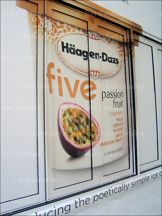 Colorful graphic and bold billboard is for Haagen-Dazs Ice Creme. <br />