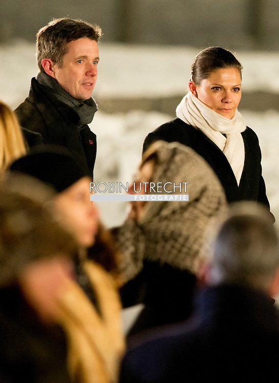 27-1- 2015 AUSCHWITZ -  Sweden – Crown Princess Victoria  are laying a candle at the monument in Camp Birkenau  during the the 70 years commemoration in Camp Auschwitz II­ Birkenau  in poland . COPYRIGHT ROBIN UTRECHT