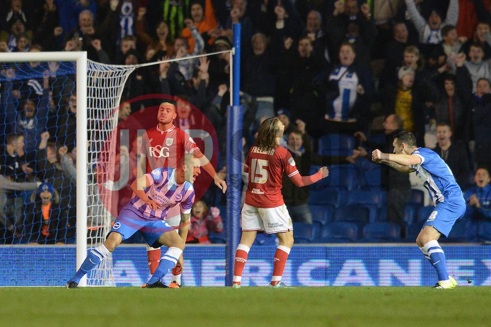Bobby Zamora of Brighton & Hove Albion celebrates scoring the winning goal - Mandatory byline: Dougie Allward/JMP - 07966 386802 - 20/10/2015 - FOOTBALL - American Express Community Stadium - Brighton, England - Brighton v Bristol City - Sky Bet Championship