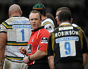 Wycombe, GREAT BRITAIN, Referee, Rob DEBNEY, ask's Mark ROBNSON if he is OK. after  a tackle  during the Guinness Premiership rugby game, London Wasps vs Northampton Saints, at Adam's Park Stadium, Bucks, England, on Sun 22.02.2009. [Photo, Peter Spurrier/Intersport-images]