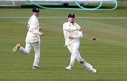 Benny Howell of Gloucestershire throws the ball at the stumps - Mandatory by-line: Robbie Stephenson/JMP - 01/04/2016 - CRICKET - Bristol County Ground - Bristol, United Kingdom - Gloucestershire v Durham MCC University - MCC University Match