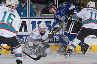 KELOWNA, CANADA - JANUARY 30: Keith Anderson #12 of Victoria Royals checks Cal Foote #25 of Kelowna Rockets during first period on January 30, 2016 at Prospera Place in Kelowna, British Columbia, Canada.  (Photo by Marissa Baecker/Shoot the Breeze)  *** Local Caption *** Keith Anderson; Cal Foote;