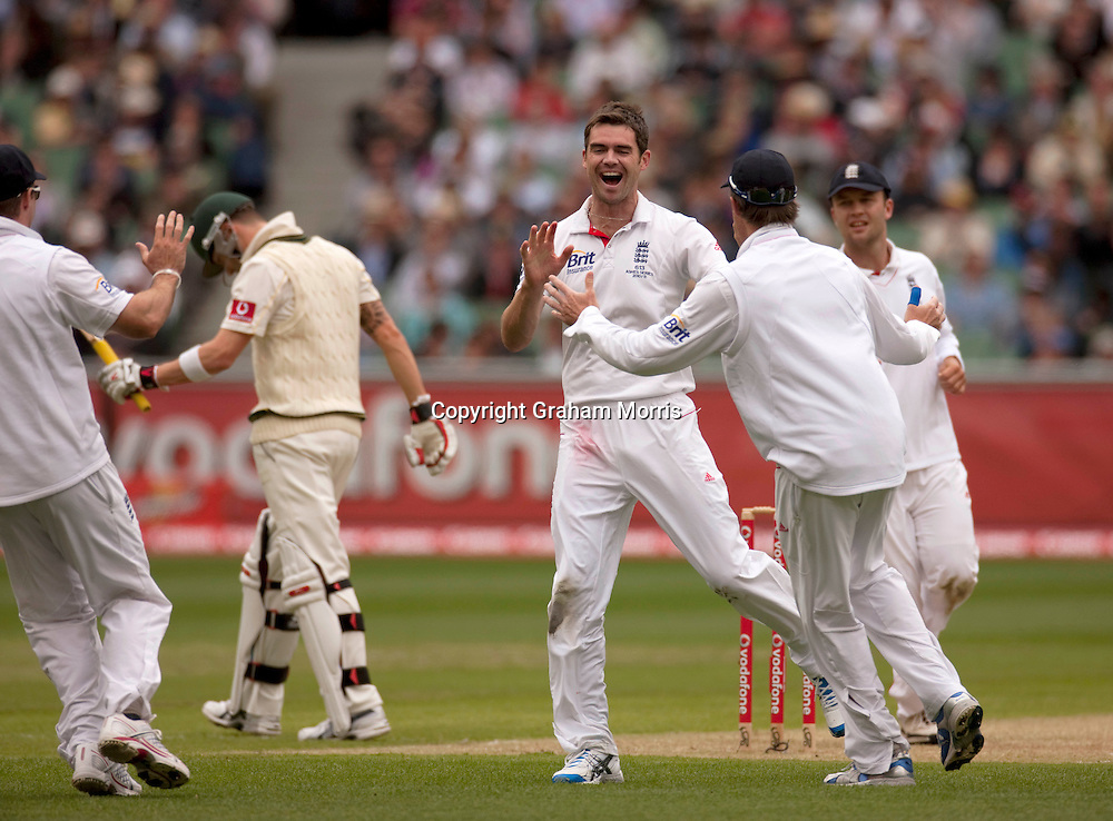 James Anderson celebrates taking the wicket of Michael Clarke during the fourth Ashes test match between Australia and England at the MCG in Melbourne, Australia. Photo: Graham Morris (Tel: +44(0)20 8969 4192 Email: sales@cricketpix.com) 26/12/10