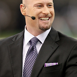 November 28, 2011; New Orleans, LA, USA; ESPN tv analysts Trent Dilfer  prior to kickoff of a game between the New Orleans Saints and the New York Giants at the Mercedes-Benz Superdome. Mandatory Credit: Derick E. Hingle-US PRESSWIRE