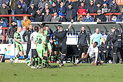 Bromley's Paul Rodgers receives a red card during the Vanarama National League match between Bromley FC and Forest Green Rovers at Hayes Lane, Bromley, United Kingdom on 28 March 2016. Photo by Shane Healey.