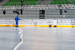 Worker at preparing Ice in Arena Stozice for World Championship Div. I on April 10, 2012 at SRC Stozice, Ljubljana, Slovenia. (Photo By Matic Klansek Velej / Sportida.com)