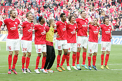 22.09.2012, Coface Arena, Mainz, GER, 1. FBL, 1. FSV Mainz 05 vs FC Augsburg, 4. Runde, im Bild Jubel mit den Fans.die Mannschaft von Mainz 05 vor der Fankurve, mit einem strahlenden Torschuetzen Adam Szalai (Mainz) // during the German Bundesliga 4th round match between 1. FSV Mainz 05 and FC Augsburg at the Coface Arena, Mainz, Germany on 2012/09/22. EXPA Pictures © 2012, PhotoCredit: EXPA/ Eibner/ Bildpressehaus..***** ATTENTION - OUT OF GER *****